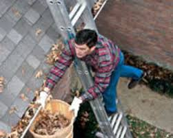cleaning gutters from ladder